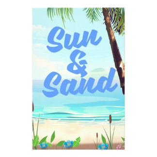 Sun and Sand inspirational quote cartoon poster la Stationery