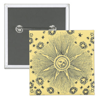 Sun and Stars Medieval Heavens 2 Inch Square Button