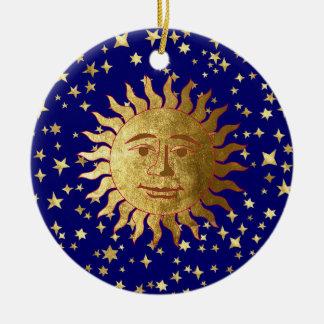 Sun and Stars Round Ceramic Ornament