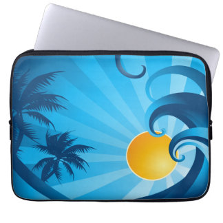 Sun and Surf Sea Wave Illustration Laptop Sleeve