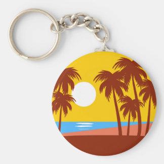 Sun Beach Island Palm Trees Colorful Illustration Basic Round Button Keychain