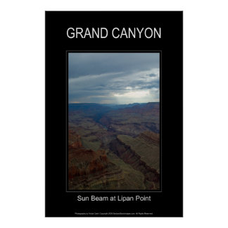 Sun Beam at Lipan Point 4859 Black Poster