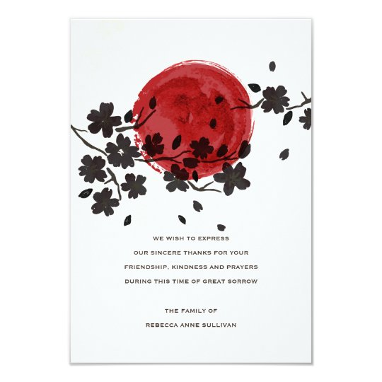 Sun Behind Black Flowers Sympathy Acknowledgement Card