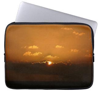 Sun Behind Clouds I Orange Seascape Computer Sleeves