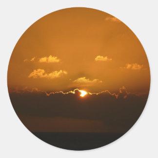 Sun Behind Clouds Orange Seascape Round Sticker