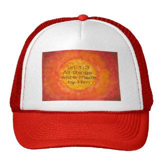 Sun bible verse Christian Creation Jn 1:3 Jesus Mesh Hats
