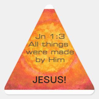 Sun bible verse Christian Creation Jn 1 3 Jesus Triangle Stickers