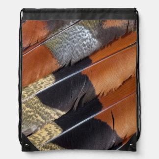 Sun Bittern feather detail Drawstring Bag