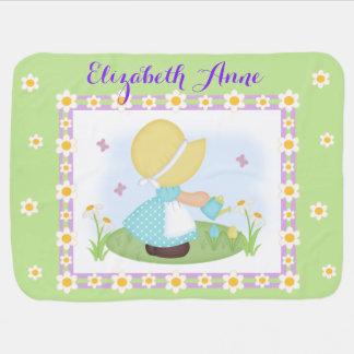 Sun Bonnet Girl Daisy Flower Lavender Green Floral Baby Blanket