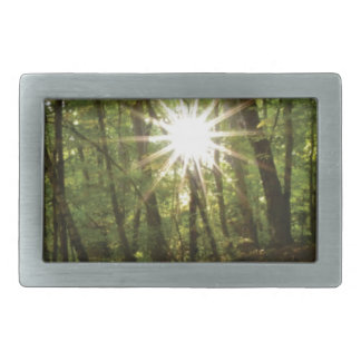 Sun breaks through woods belt buckle