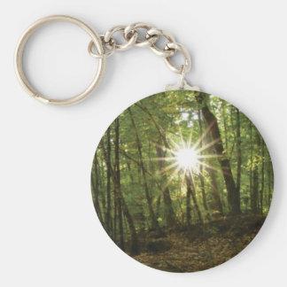 Sun breaks through woods keychain