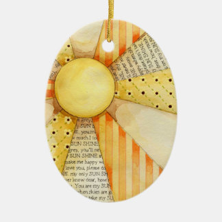 Sun Burst Ceramic Oval Ornament