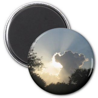 Sun Burst Through the CloudsMagnet 2 Inch Round Magnet