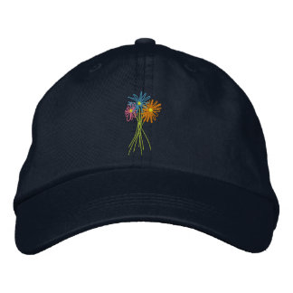 Sun cap. Flower Bunch. Coloured daisies Embroidered Hat