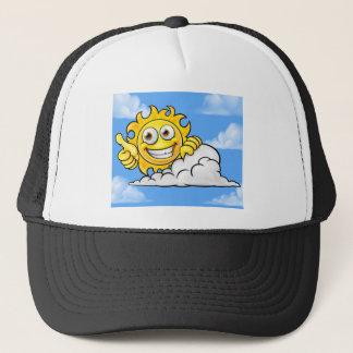 Sun Cartoon Mascot Cloud Background Trucker Hat