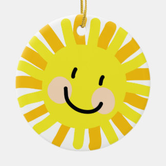 Sun Child Drawing Ceramic Ornament