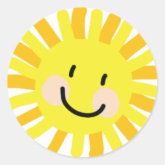 Sun Child Drawing Round Sticker