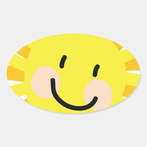 Sun Child Drawing Oval Sticker