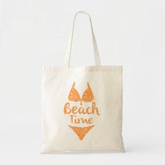 Sun Color Beach Time And Bikini Illustration Budget Tote Bag
