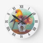 Sun conure and flowers round clock