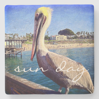 """Sun day"" oceanside pelican photo stone coaster"