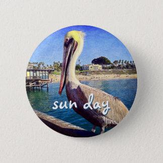 """""""Sun day"""" quote beach pier pelican photo button"""