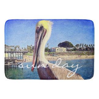 """""""Sun Day"""" Quote Cute Beach Pier Pelican Bird Photo Bath Mat"""