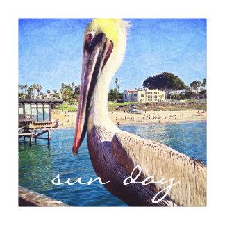 """""""Sun Day"""" Quote Cute Beach Pier Pelican Bird Photo Canvas Print"""