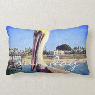"""Sun Day"" Quote Cute Beach Pier Pelican Bird Photo Lumbar Pillow"