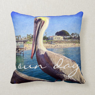 """Sun Day"" Quote Cute Beach Pier Pelican Bird Photo Throw Pillow"