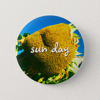 """""""Sun day"""" quote giant yellow sunflower photo 2 Inch Round Button"""