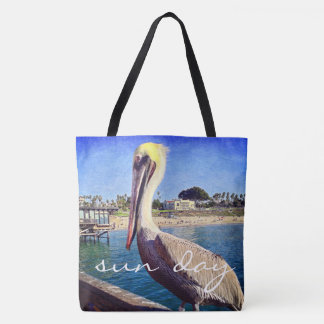 """Sun day"" quote oceanside pelican photo tote bag"