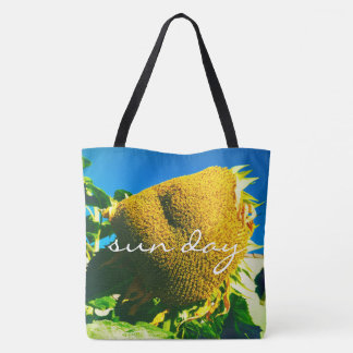 """""""Sun day"""" quote yellow sunflower close-up photo Tote Bag"""