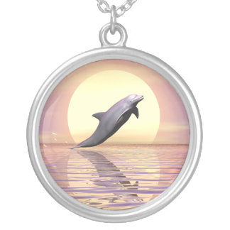 Sun Dolphin Silver Plated Necklace