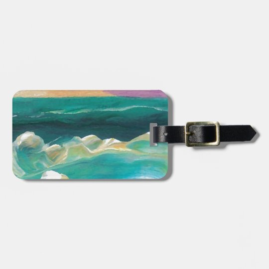 Sun Drama in the Ocean Waves Seascape Bag Tag