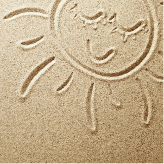 Sun Drawn In The Sand Standing Photo Sculpture