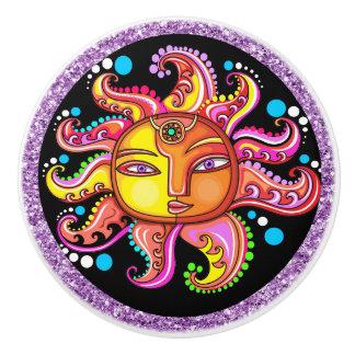 Sun Face Ceramic Knob