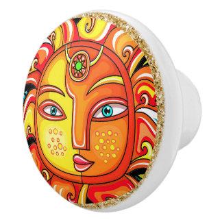 Sun Face Ceramic Knob with Circle Frame