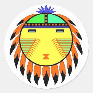 Sun Face Classic Round Sticker