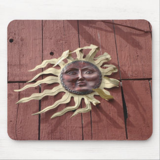 Sun Face on Red Barn Mouse Pad