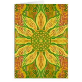 Sun Flower bohemian floral art yellow green orange Card