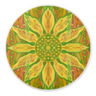 Sun Flower bohemian floral art yellow green orange Ceramic Knob