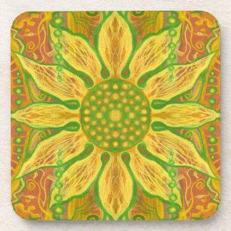 Sun Flower bohemian floral art yellow green orange Coaster