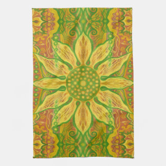 Sun Flower bohemian floral art yellow green orange Kitchen Towel