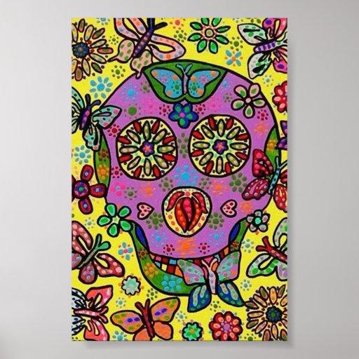 Sun Flower Butterfly Sugar Skull Poster