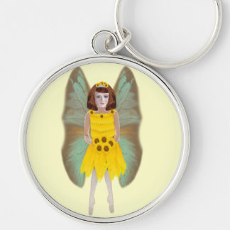 Sun Flower Fairy Silver-Colored Round Keychain