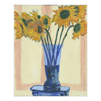 Sun Flowers in a Blue Vase Posters