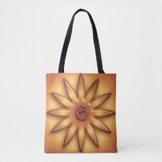 Sun. Geometric gradient element. Monogram. Tote Bag