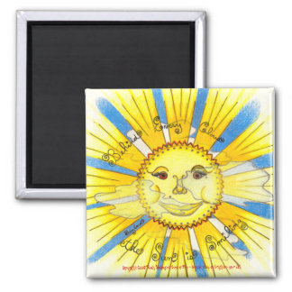 "Sun in Clouds - 2"" Sq. Magnet (white)"