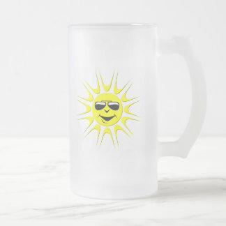 Sun in Shades Frosted Glass Beer Mug